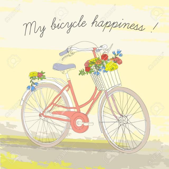 77446011-カラフルなヴィンテージ春自転車ポスター